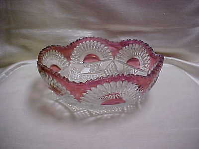 Victorian Ruby Stained Glass Bowl Sunrise Geometric Pattern Scalloped Edge type