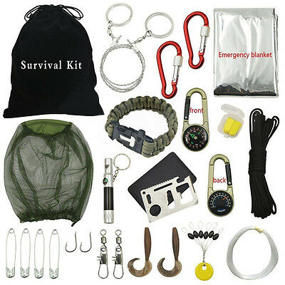 31pcs Outdoor Hiking Camping Emergency Survival Tool Set First Aid Gear Kit *