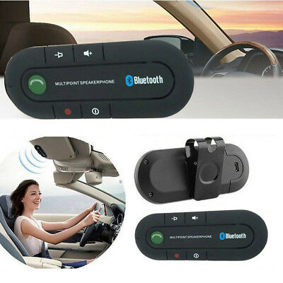 Wireless Multipoint Bluetooth Hand Free Car Kit Speakerphone Speaker Visor Clips