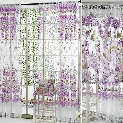 Floral Tulle Voile Door Window Curtains Drape Panel Sheer Scarf Valances Decor