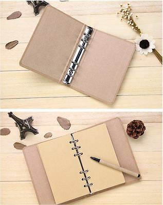 A5 / A6 Blank Kraft Cover 6 Binder Notebook Diary Memo Book + 40Page Kraft Paper