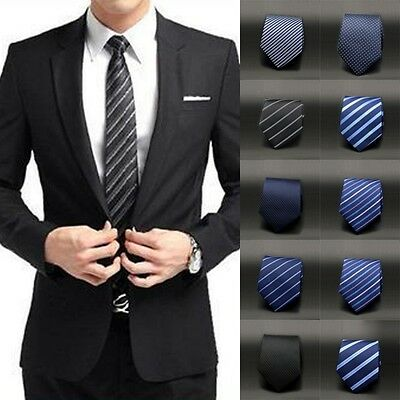AU Mens Slim Party Wedding Business Necktie Tie Jacquard Woven Plain Skinny Silk