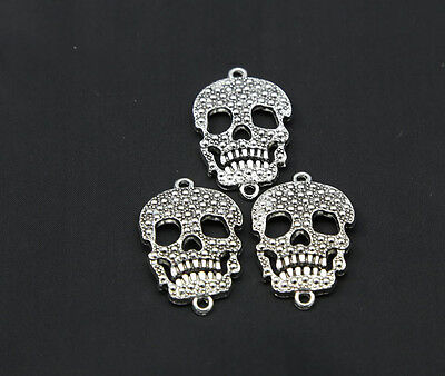 15pcs ancient silver retro style beautiful Skull mask alloy charms pendant