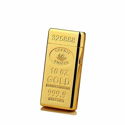 Gold bar usb Rechargeable Electric Double Arc Pulse Flameless Plasma Lighter