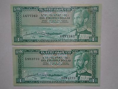 1966  Ethiopian One Dollar Banknotes**king::selassie,i**lot Of Two Notes**unc**