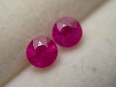 RARE Pair Red Ruby gems 2 gemstones Quality Mogok Burma Natural Genuine
