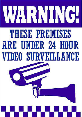 Qty 2 Warning Signs  24 Hour Video Surveillance Security Sign - Cctv Camera Sign