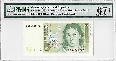 Germany, 1991 5 Mark P37 PMG 67 EPQ
