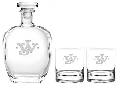 Rolf Glass John Wayne Monogram Whiskey Decanter with Rocks Glasses Set