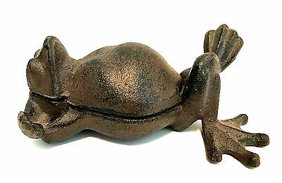 Vintage Cast Iron Frog Stash Trinket Box Key Holder 6.5 inches Long Heavy