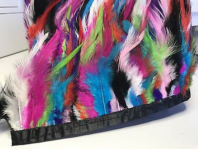 Multi Coloured Rooster Feather Fringe Ribbon Trim (price for 30cm) DIY Craft