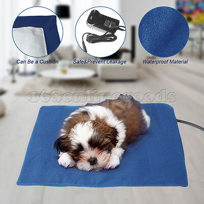 Cold Winter Pet Dog Cat Safe Electric Heated Warmer Bed Pad Mat Large Size Blue