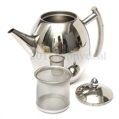 1500ML Stainless Steel Teapot Coffee Pot With Tea Leaf Strainer Infuser Filter