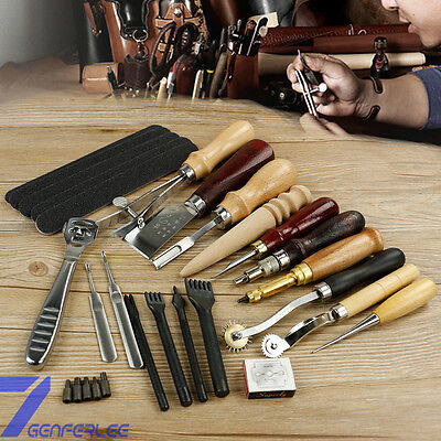 18pc/set Leather Punch Tools Craft Stitching Carving Sewing Saddle Groover Kit