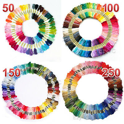 50 100 150 250 Coloured Egyptian Cotton Embroidery Cross Stitch Thread Floss