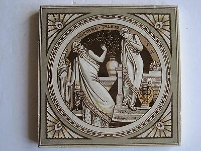 ANTIQUE VICTORIAN MINTONS - MOYR SMITH SHAKESPEARE TILE -WINTER'S TALE c1874