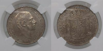 Philippines 1885 50 Cent Silver Alphonso Xii Ngc Ms 62