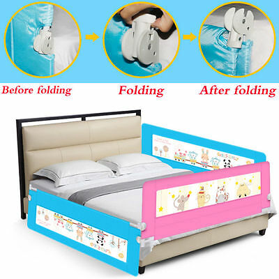 UK Blue 180cm Folding Baby Toddler Bed Rail Safety Protection Guard Space Saving