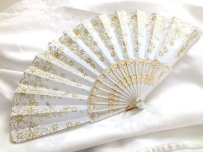 White Gold Flower Hand Fan Wedding Dance Fancy Chinese Spanish Hen Party Ff10