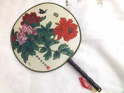 Chinese Round Palace Red Peony Hand Fan Fancy Dance Japanese Birthday Party Dd3