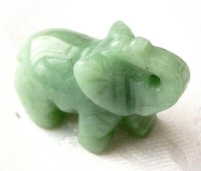 CHINESE GREEN JADE HANDHELD GEM STONE LUCKY ELEPHANT ORNAMENT BIRTHDAY PARTY a10