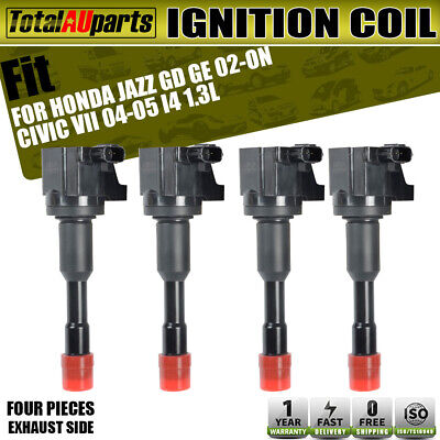 4x Ignition Coils Pack for Honda Civic Hybrid 04-10 Jazz L13A1 1.3L Exhaust Side