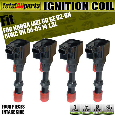 4x Ignition Coils Pack for Honda Jazz 03-08 L13A1 1.3L Civic Hybrid Intake Side