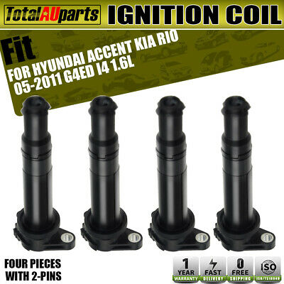 4x Ignition Coils Pack for Hyundai Accent 2006-2009 Kia Rio 2005-2011 G4ED 1.6L