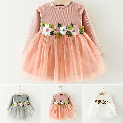 Newborn Infant Baby Flower Girl Kids Long Sleeve Floral Mesh Party Mini Dress