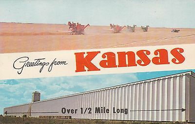 "*Kansas Postcard-""Greetings from Kansas"" /Grain Elevators/ (U1-KS4)"