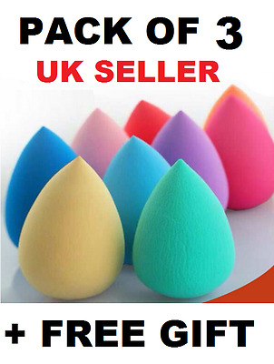 3 x Beauty Foundation Make up blending Makeup Sponge blender Buffer Puff + GIFT.