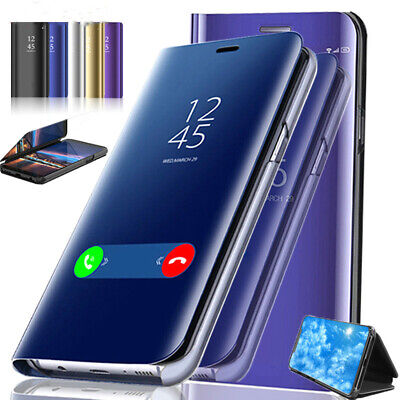 For Samsung Galaxy Note 9 Note 10+ S9 View Mirror Wallet Leather Flip Stand Case