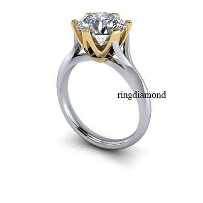 2 Ct Forever Off White Moissanite Engagement Ring 925 Sterling Silver Ring Size8