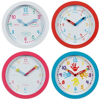 Learn To Tell The Time Wall Clock Childrens Kids Bedroom Playroom Boys Girls