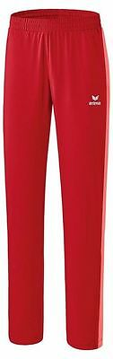Erima Kids Girls Tennis Presentation Pants Trousers Tracksuit Bottoms Red Coral