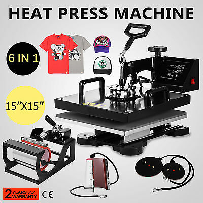 15x15 T-Shirt Heat Press Transfer 6IN1 Combo Cap Mug Plate 1400W Swing Away CE
