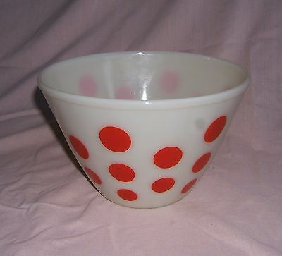 """Fire King 8 1/2"""" Red Dot Ovenware Bowl"""