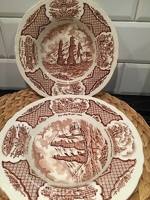 2 Alfred Meakin Fair Winds Soup Bowls Flat Rim Brown Historical Scenes