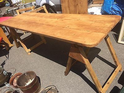 Victorian pine 3 Plank Trestle Tables 8ft X 2.6ft On Trestles. Was 20 Available