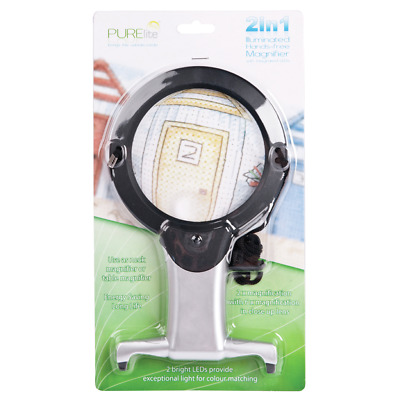 Illuminated hands free magnifier 2-in-1