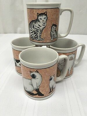 NOS VTG NOVELTY STONEWARE CAT MUGS Set Of 4 Hand Crafted