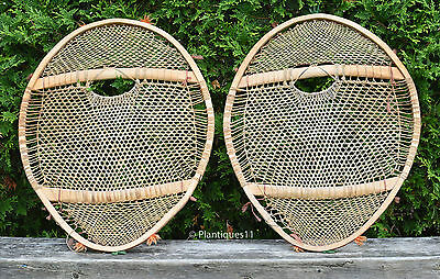 Vintage large 22 x 27 ELBOW style SNOWSHOES North East Quebec INNU bearpaw 1970s
