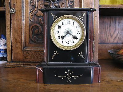 Antique French Slate Clock With Ornate Enamel Dial-Strikes On A Silver Bell