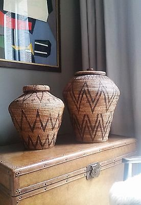 2 RARE Antique African or Asian Basket-Urns