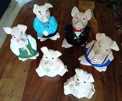 WADE NatWest Pigs x6 Full Set In Very good condition, Collectible Piggy Banks