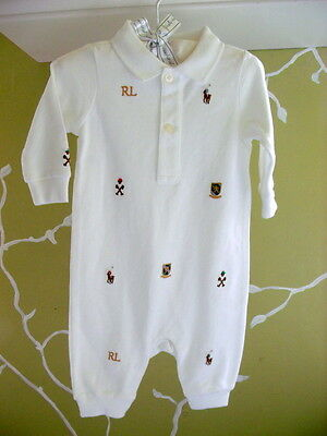 Ralph Lauren Polo Infant Romper White With Crests Logos Size 3 Months New