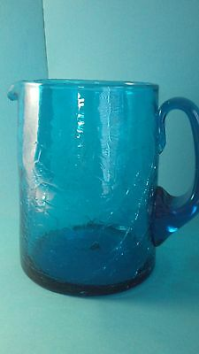 Mid Century Large 6 & 4/10 Crackle Glass Pitcher Smooth Edge Cylinder Blenko