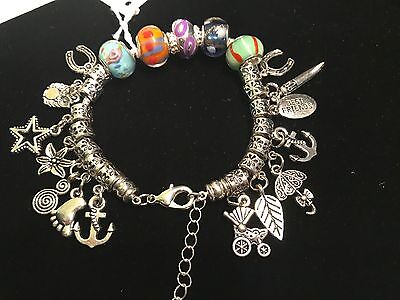 Charm Bracelets - Unique Beads and Charms - Hand Made - Silver & Gold Colors