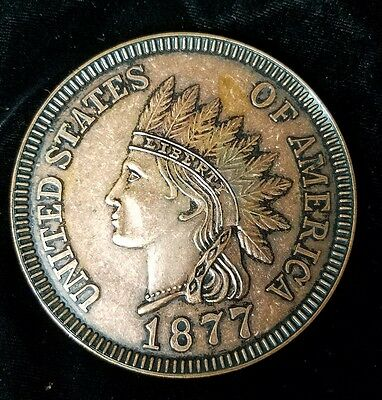 "Vintage Old Large 3"" Novelty One Cent Coin Coaster 1877 INDIAN HEAD PENNY"