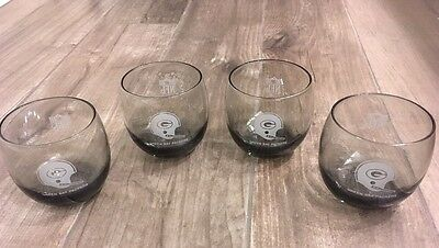 4 Vintage GREEN BAY PACKERS NFL smoked single bar cocktail glasses Shell Oil Gas